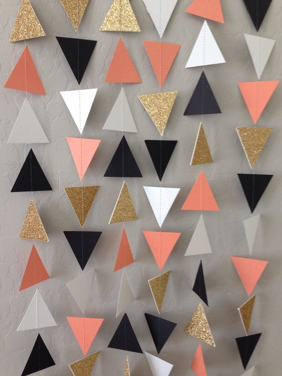 Coral Gold Black White Triangle Garland Geometric Garland