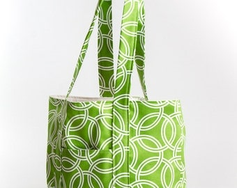 Green with White Circles Square Bottom Tote