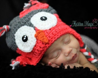 Owl Ear flap Hat Newborn Toddler Kids