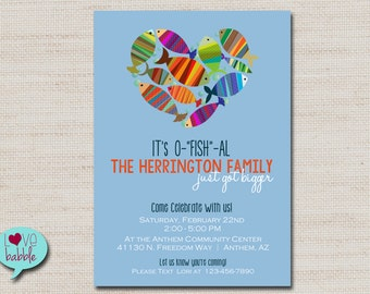 baby family shower adoption party invitation fish blue red printable digital file 5x7 - Adoption Party Invitations