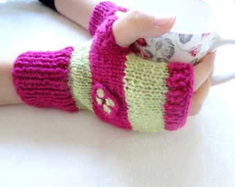 Fuchsia,Green Knit Fingerless Gloves,  Warm Winter Accessory, Lady Fingerless Gloves, Embroidered Gloves