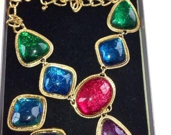 """KJL Necklace Gold tone,jewel tone stones 1 1/2"""" Purple Amethyst drop 3 1/2"""" Pink Ruby Green Emerald Blue Sapphire Kenneth J Lane 1980s Sale"""
