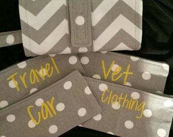 Grey and white chevron cash envelope wallet with 4 individual envelopes