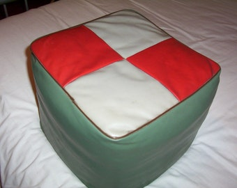 Vintage Pouffe. 1950s Square Pouffe / Foot Stool. Retro Square Pouffe / Foot Rest