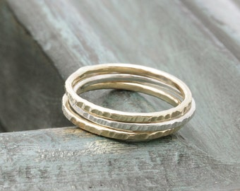 1 pc silver 2 pcs gold filled shiny textured band ring, wedding gift, bridemaid rings, holiday gift