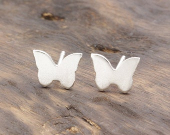 925 stering silver shiny butterfly stud earrings (E_00064)