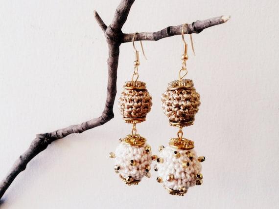 Ivory and Gold Crochet Ball Beaded Earrings