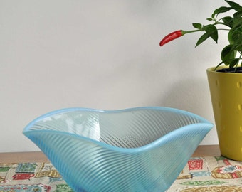 Vintage Turquoise Square Ribbed Glass Bowl