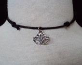 Lotus Flower Choker ~ Lotus Necklace ~ Lotus Choker Necklace ~ Black Cord Necklace ~ Yoga Jewelry
