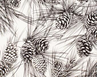 Alexander Henry November Pine Black and White Cotton Woven 1 Yard