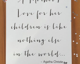 Mothers day a4 agatha christie fine quality print / poster / calligraphy