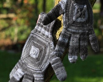 Hand knitted wool gloves