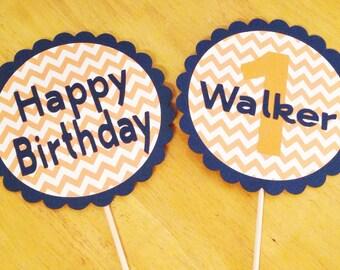 Happy Birthday Cake Topper - First Birthday Cake Topper - Chevron Cake Topper - 1st Birthday Cake Topper