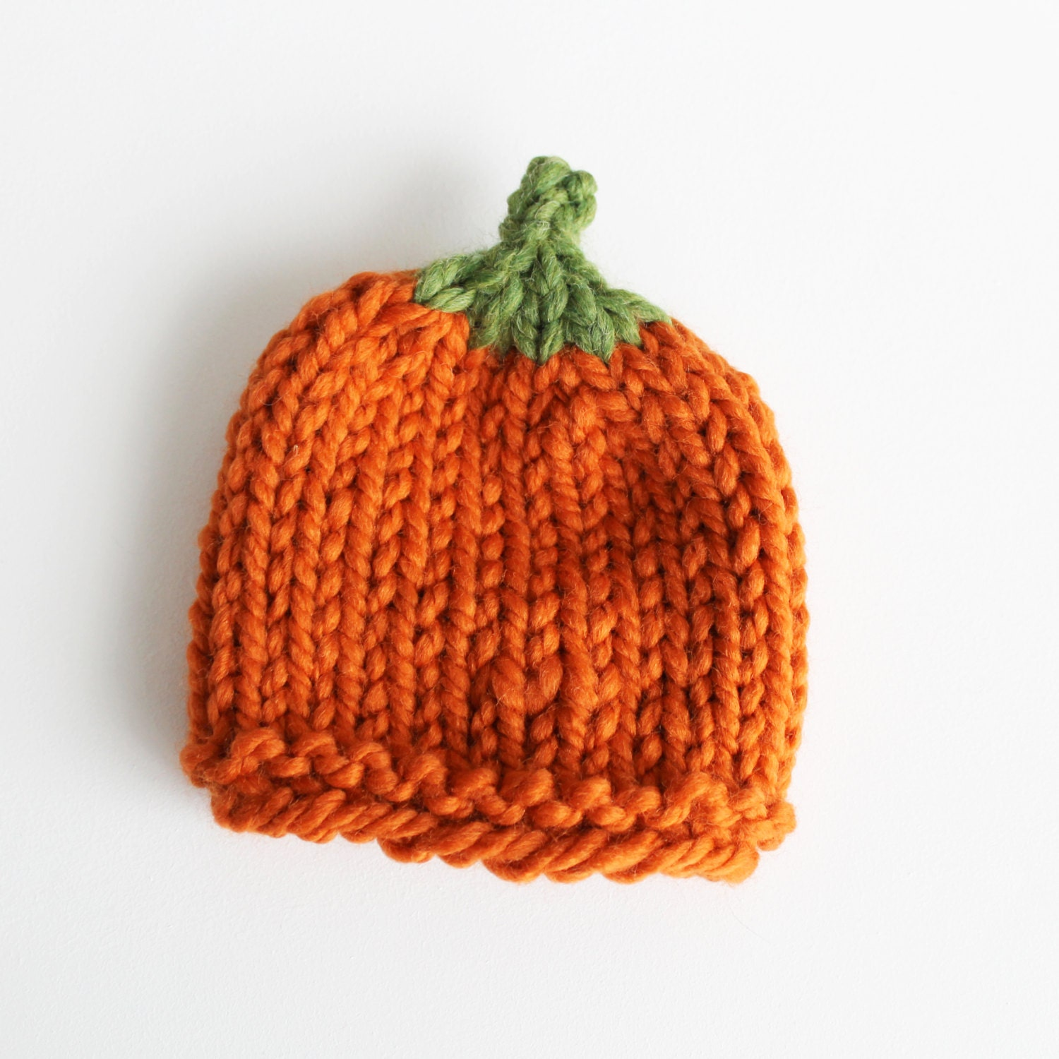 Pumpkin Baby Hat Newborn Baby Hat Knit Vegetable by PeonyBlossoms