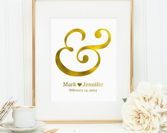 Personalized printable wall art decor: Gold ampersand with names and wedding date, personalized wedding gift (Custom digital download - JPG)