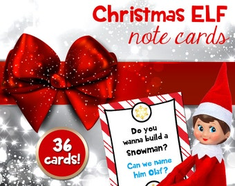 Elf note cards, notes from Christmas Elf, Holiday printable note cards for kids from Santa's Elf (Instant digital download: PDF)