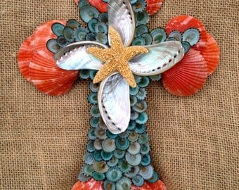 Seashell Cross, Handmade Seashell Cross, Red and Green Cross