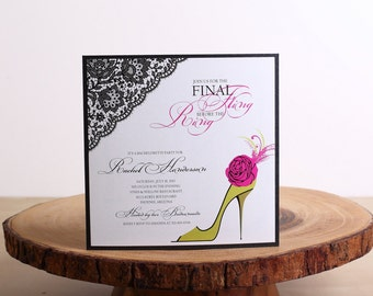 Bachelorette Party Invitation, Lace Bridal Shower Invitations, Pink Bachelorette Invitations