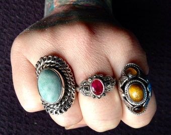 Green Stone Jasper + Antiqued Sterling Silver .925 Statement Ring Size 8 1/4