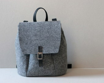 SALE !!! FELT LEATHER Rucksack, genuine leather backpack, felt bag, backpack, rucksack, christmas gift
