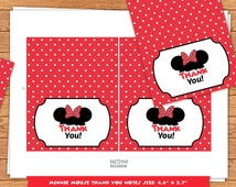 INSTANT DOWNLOAD Red Minnie Mouse Thank You Notes
