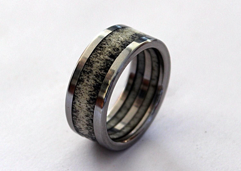 deer antler ring antler jewelry titanium ring mens by