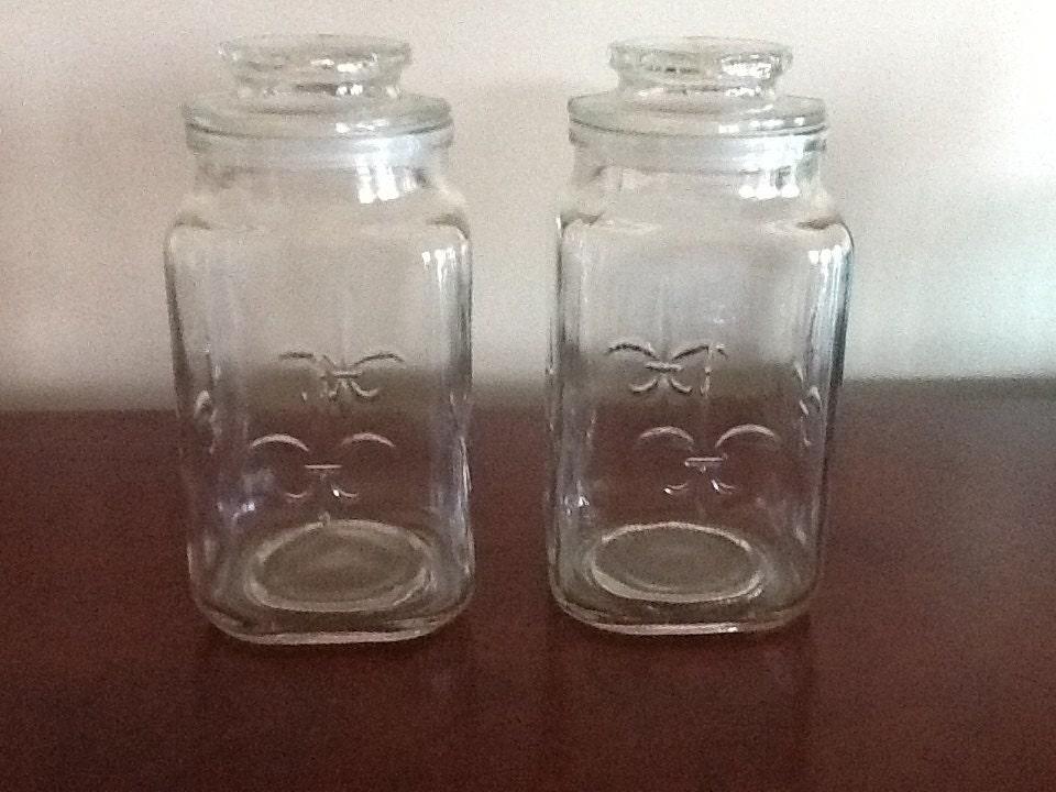 Anchor Hocking Fleur De Lis Clear Glass Apothecary Jar