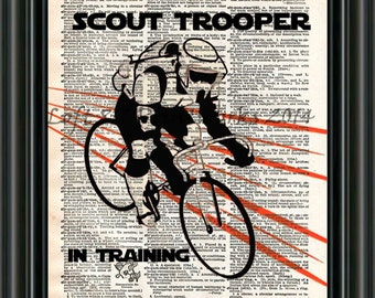 Storm trooper art print, star wars art, scout trooper on bicycle, dictionary print