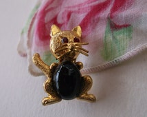 Vintage Jelly Belly Cat Kitty Pin Brooch, Made in Germany, Red Eyed Cat Jelly Belly Brooch, Excellent!