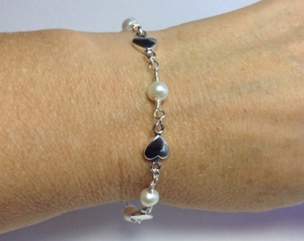 Heart Charm and Pearl Bracelet