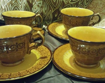 A Set of 4 Cups and Saucers of Vernonware by Metlox San Fernando Pattern Use Coupon Code 2BEBBUY and Get 20 % Off  20.00 Min