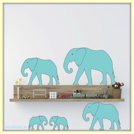 FREE SHIPPING Wall Decal 12 Turquoise Colors Elephants. Nursery Wall Decal. Diy Wall Decal. Wall Paper. Wall sticker, Wall Art.