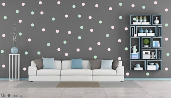 FREE SHIPPING Wall Decal Dots Mint & Pink Color .Larg Kit Contains: 208 . Wall Decal . Home Decor. Nursery Wall Decal Sticker Art Digital