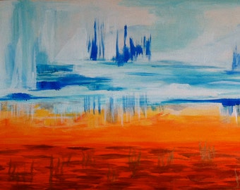 Painting abstract modern landscape acrylic on paper  Bataille climatique