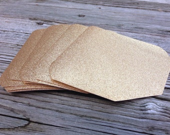 Glitter Envelope Liners - Fits A7 Pointed Flap Envelope - No Shed Glitter - Gold Silver Blue Green Pink Red Glitter