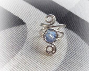 Silver Ear Cuff Swarovski Crystal Light Sapphire Silver plated Ear Wrap