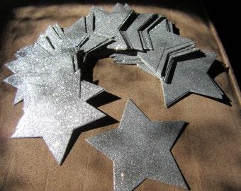 40 6.5cm Silver Glitter Star die cuts