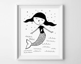 Girls room decor, printable nursery, wall art poster, toddler girl art illustration, mermaid in a T-shirt, black and white, instant download