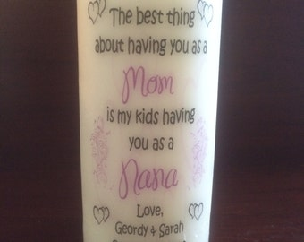 "Personalized 6"" MOM/GRANDMA Pillar Candle."