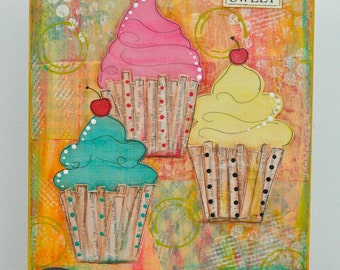 Life is Sweet Cupcake 8 x 10 Mixed Media Canvas