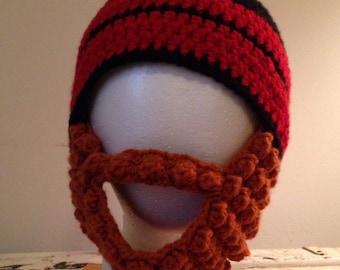 Bearded beanie hat (detachable beard) - 0-3 mos. - adult - choose colors