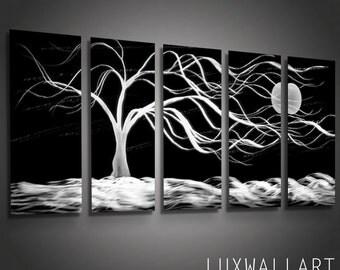 Modern Multi Panel Art Print on Aluminum Panels Midnight Tree Wind