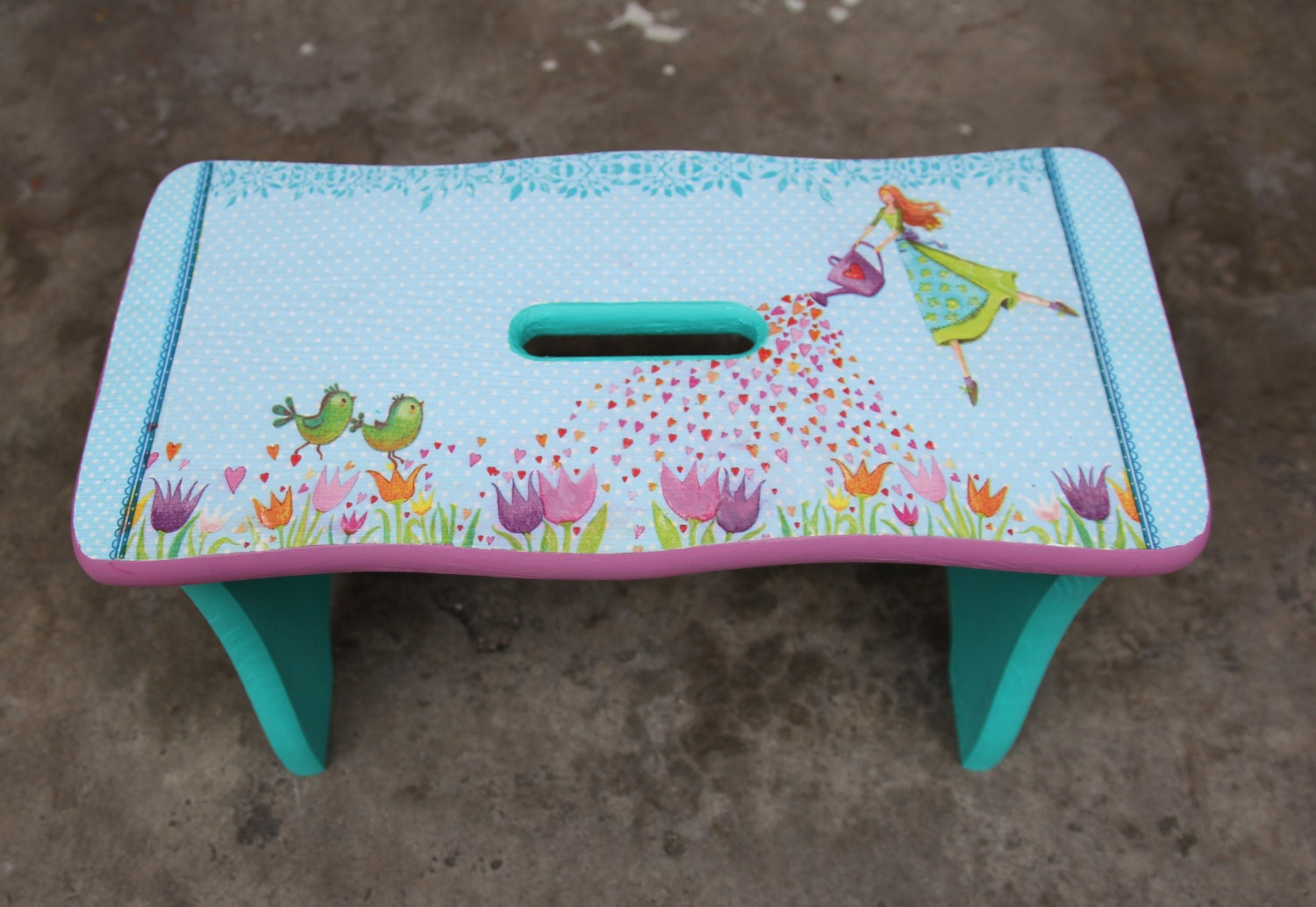 Wooden bench for kids children wooden stool by DumontsHandicrafts