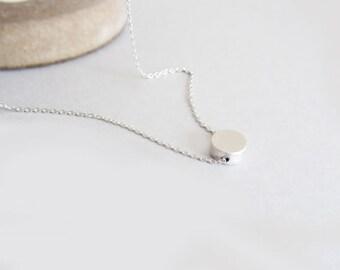 Tiny round pendant necklace