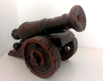 Vintage Hand Carved Wooden Cannon