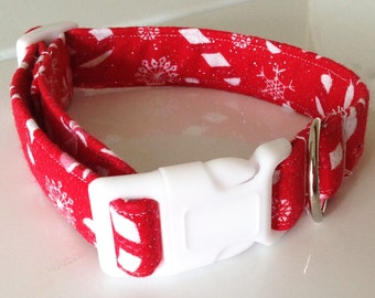 Red Christmas Collar for Cats and Dogs- Candy Canes and Snowflakes