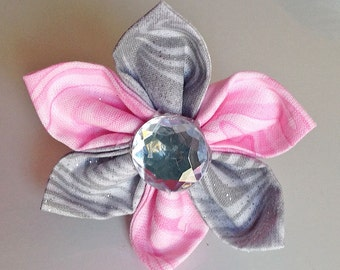 Gray and Pink Wedding Flower for Dog or Cat Collar