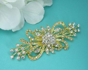 Vintage ribbon gold wedding brooch, wedding pin, gold bridal brooch, wedding dress brooch, bridal wedding accessories, brooch pin 221482063