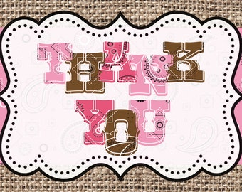 INSTANT DOWNLOAD Cowgirl Thank You Card 4x6