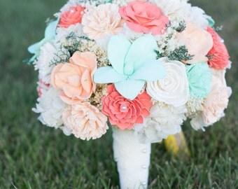Wedding Bouquet, Bridal Bouquet, Mint, Peach, Coral- Sola Flower Bouquet, handmade Wedding Bouquet, Alternative Bouquet